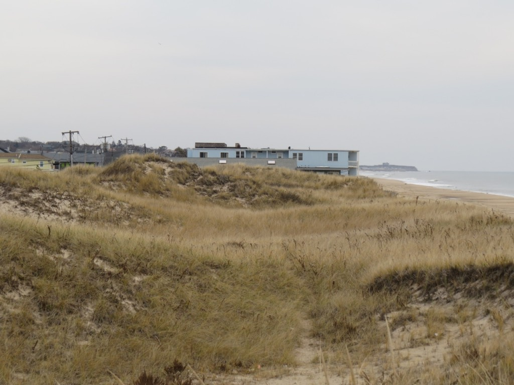 The natural dune at Kirk Beach is in excellent condition post-Sandy. Note the motel constructed where the dune should be.