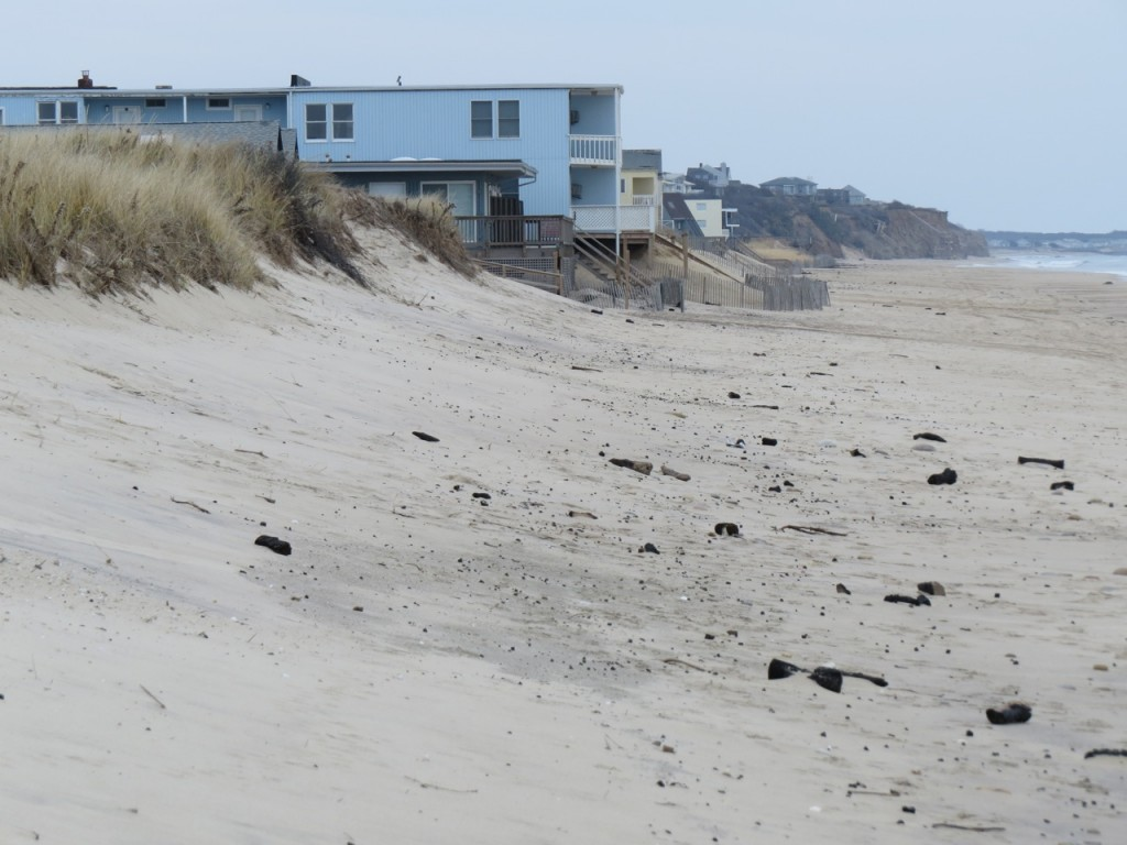 The construction of motels on the ocean beach destroyed the primary dune in downtown Montauk.